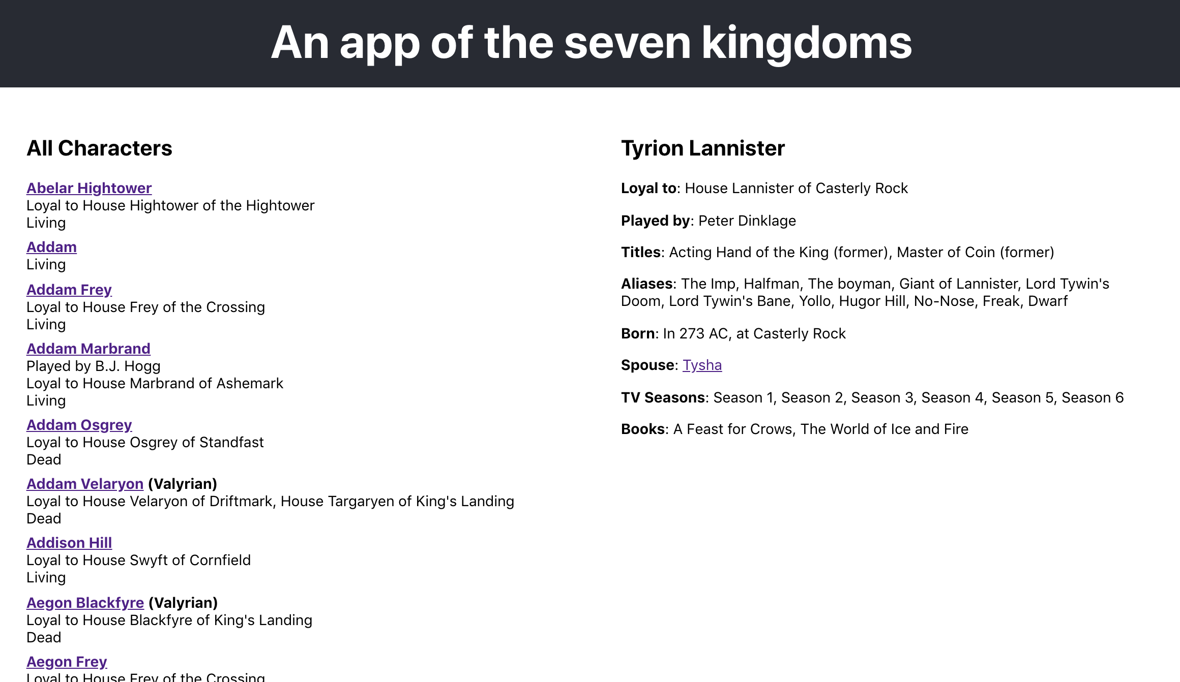 An app of the Seven Kingdoms